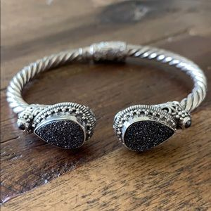 Sarda Sterling Silver Druzy Cable Cuff Bracelet